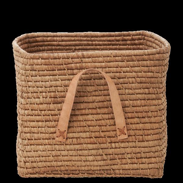 Naturbrun korg med läderhandtag - från RICE