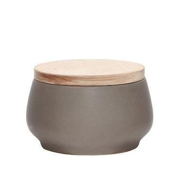 Alldeles fantastisk grå keramikburk (trälock)