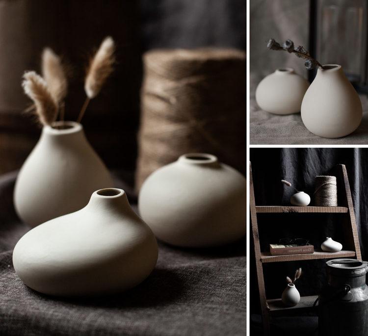 KÄLLA, beige låg keramikvas