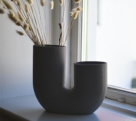 STRÅVALLA, keramikvas mörkgrå