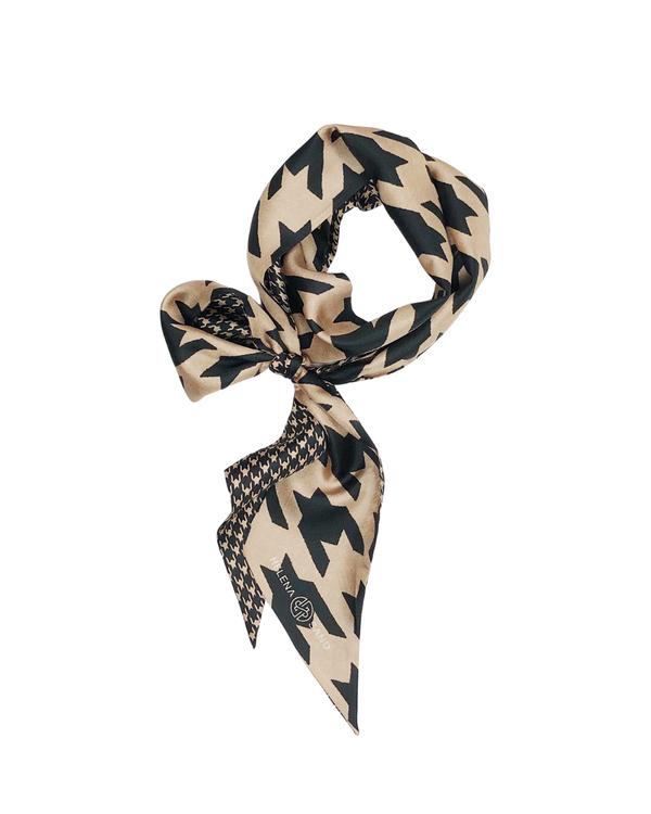 HELENA SAND twilly silk scarf / hundtandsmönstrad sidenscarf i varm beige och svart