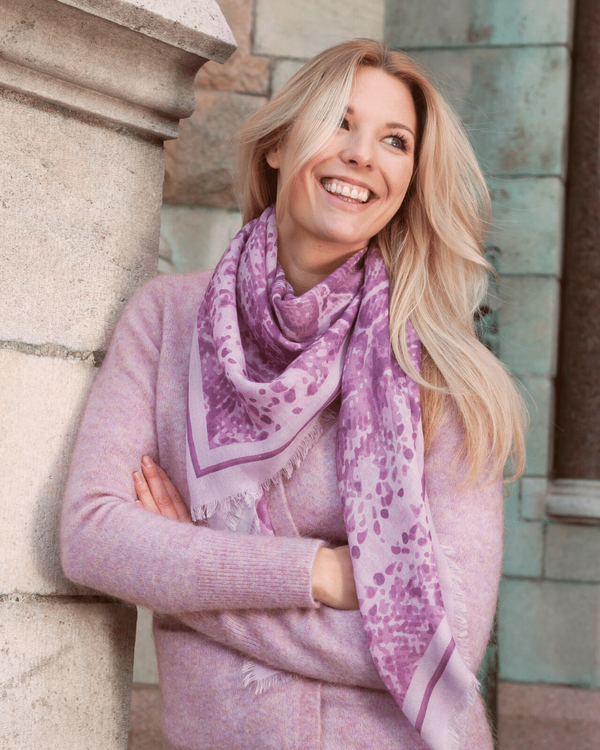 HELENA SAND Light & warm soft wool scarf in gorgeous pink and violet colors