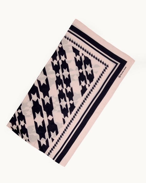 HELENA SAND Large & light soft wool scarf - mjuk och lätt ullsjal i coolt hundtandstryck - rosa / svart