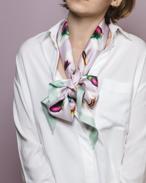 Floating Feathers Twilly scarf