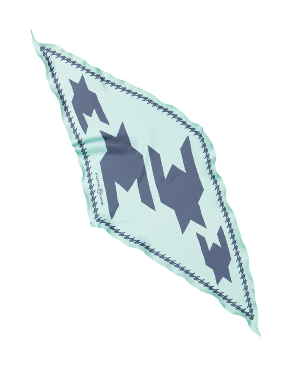 HELENA SAND Diamond shaped scarf  100% silk 100% light 100% attitude in aqua blue