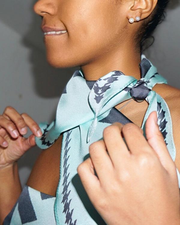 HELENA SAND Diamond shaped scarf 100% silk, 100% light, 100% happy in aqua blue