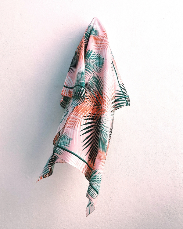 HELENA SAND stunning sarong of cotton/silk in peach color & palm leaf pattern