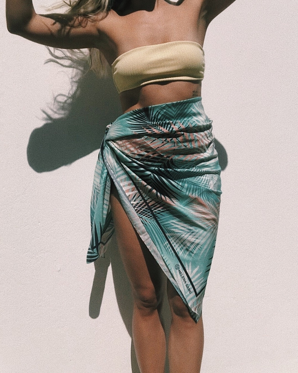HELENA SAND stunning sarong of cotton/silk in aqua blue color & palm leaf pattern