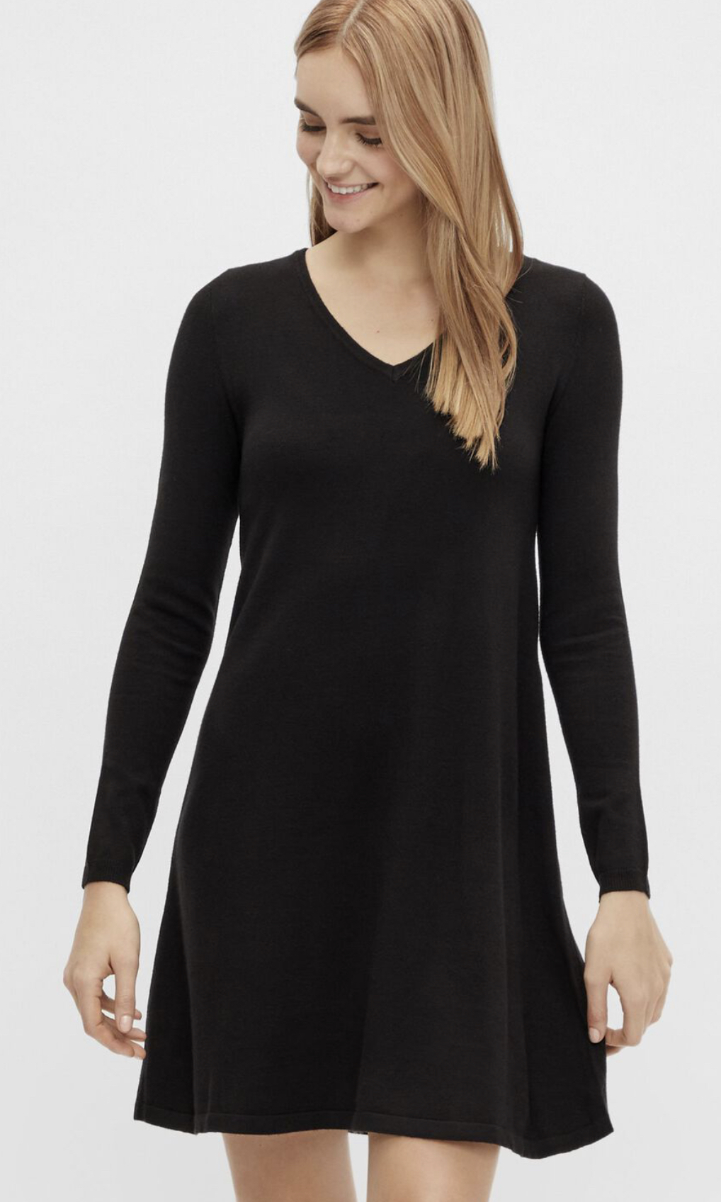 PCCENIA V-Neck Knit Dress Brown