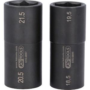 """1/2"""" special-aluminiumfälg-krafthylssats, för Ford, 18,5 / 19,5 / 20,5 / 21,5 mm, 2 delar"""