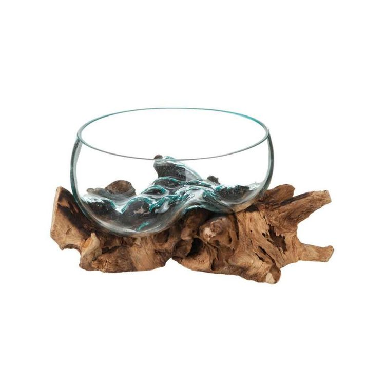 Glasskål på trädrot Diam 30 cm