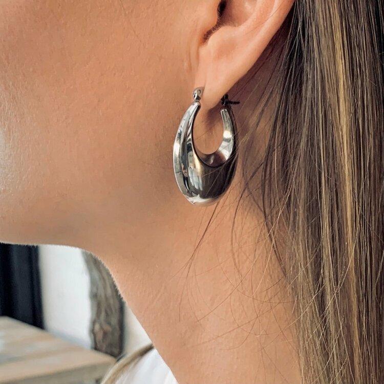 Bud to Rose Arc Bold Earring- Steel