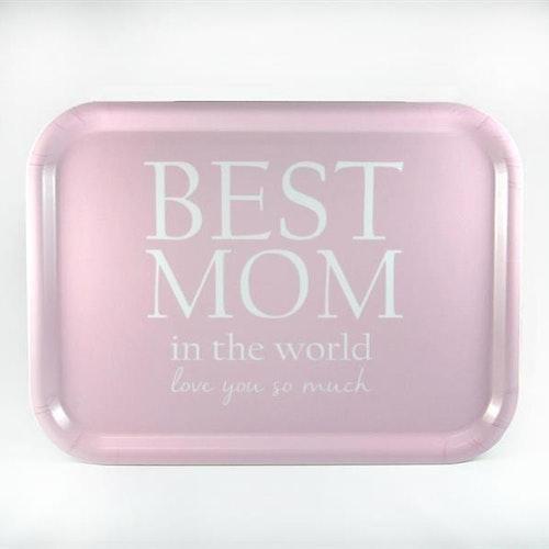 Bricka 27x20 cm, Best Mom Rosa