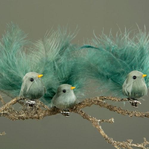 Fågel/Clip Fjäder Grönblå 9cm
