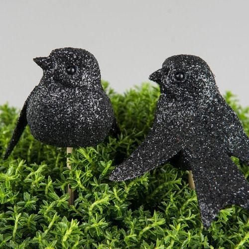 2 st Fågel/Glitter Svart 7cm På pinne