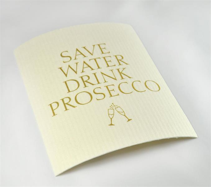 Disktrasa, Prosecco, vit/guldtext