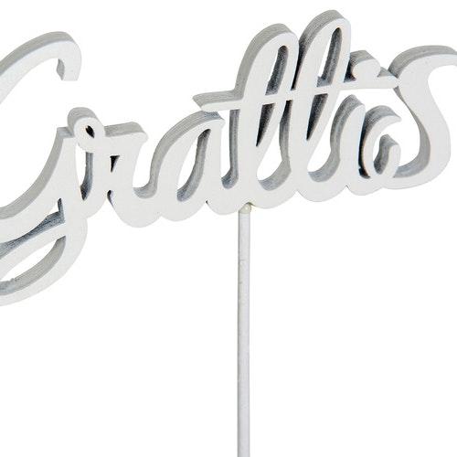 Grattis /Pinne 9cm Vit