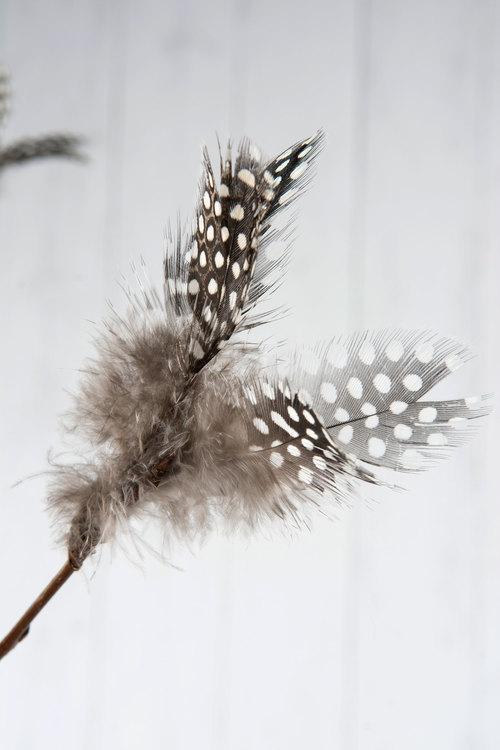 Fjäder/Tråd Blom Pärlhöns 12st