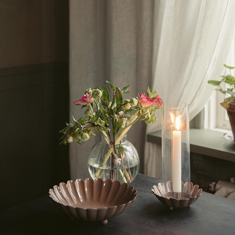 Ljusstake med glasrör Ingrid  Rosa