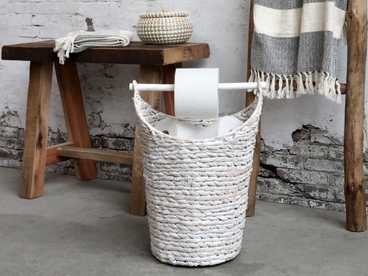 Toapappershållare antik vit
