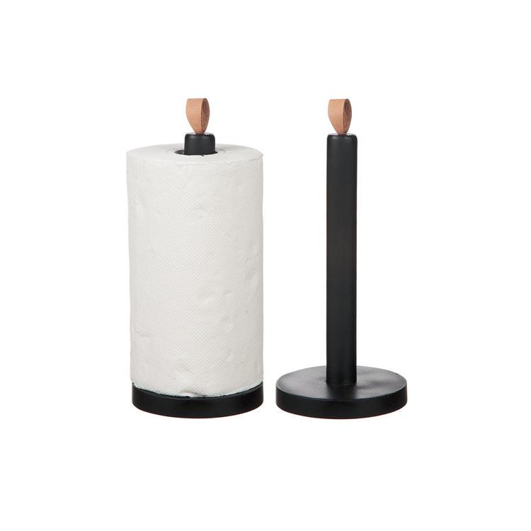 Hushållspappershållare trä med skinnknoppp