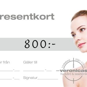 Presentkort 800 kronor