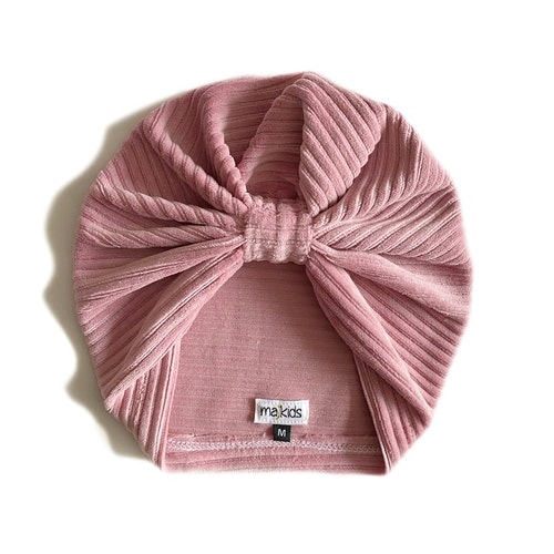 Turban -  Dusty Rose velour med manchesterlook