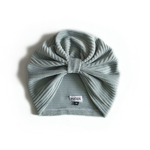 Turban -  Dusty Mint velour med manchesterlook