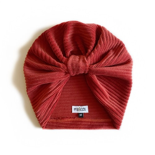 Turban - Brick red velour med manchesterlook