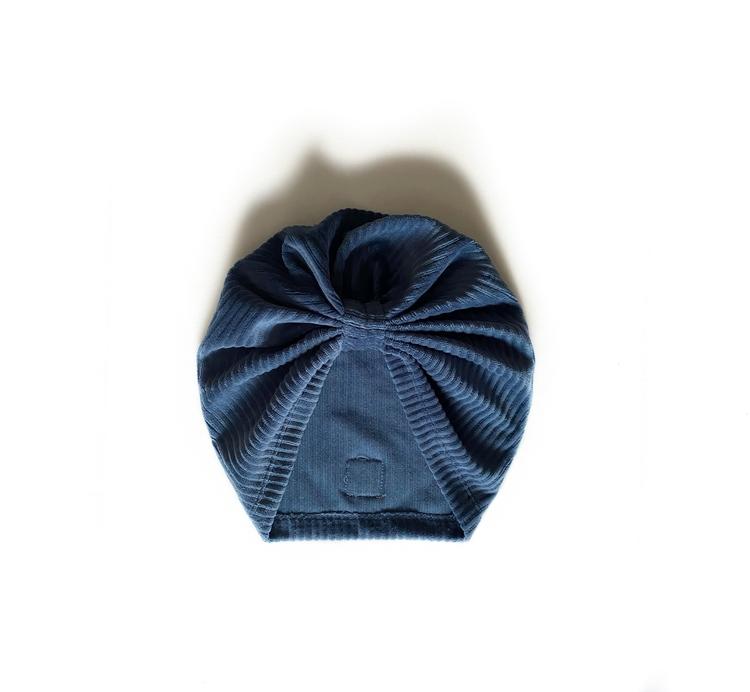 Turban -  Jeansblå velour med manchesterlook
