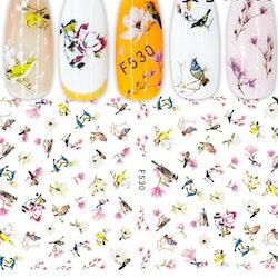 530 Fåglar och cherry blossom Stickers