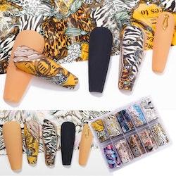 Nail foil 100cm*4cm Animalprint & feathers