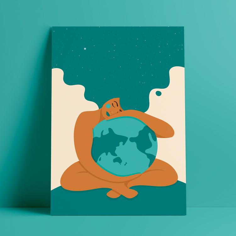 Poster med motivet Moder Jord – en kvinna som omfamnar vår planet Jorden. Kvinnan har stort böljande hår som blir som en stjärnhimmel. Färg: turkos.