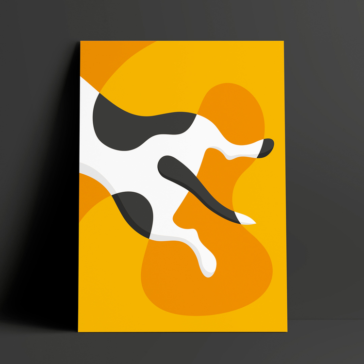 Poster med motivet Stafferumpa – bakdelen på en hund som ligger och sover pladask på magen. Hunden är vit med svarta fläckar och av rasen Staffordshire bullterrier. Färg: gul och orange.
