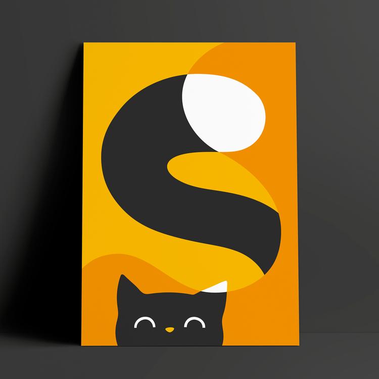 Glad katt | gul | A3