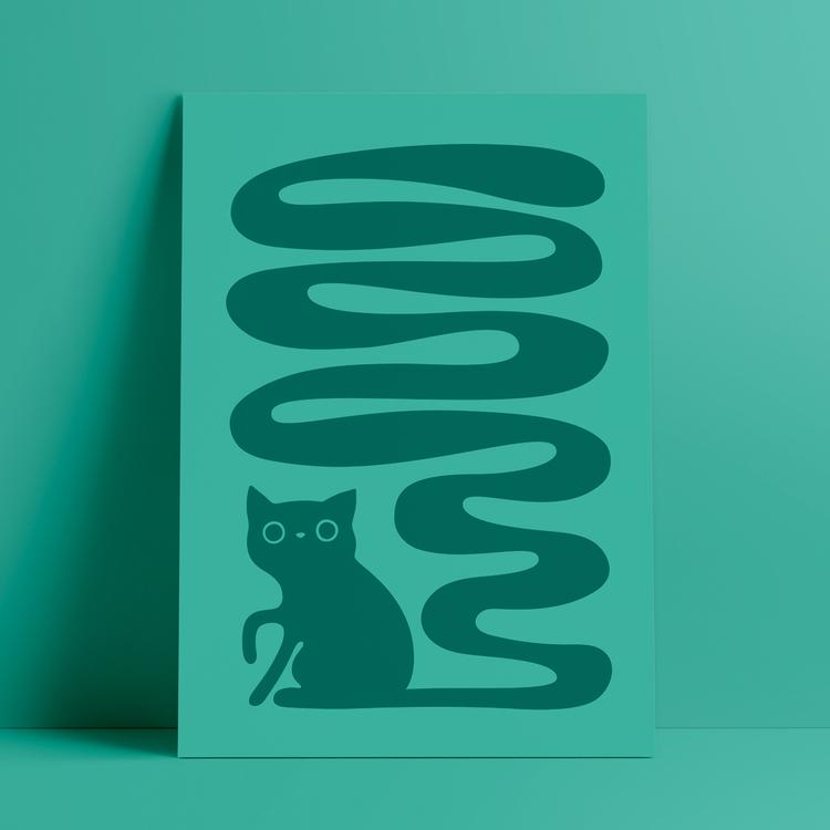 Poster med motivet Svanskatt – en katt med lång slingrande svans. Färg: turkos.