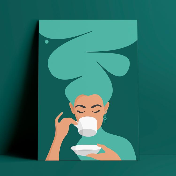 Poster med motiv av en kvinna, med stort turkost hår och feministörhängen, mot petrolfärgad bakgrund, som dricker kaffe – den så kallade Kaffekvinnan.
