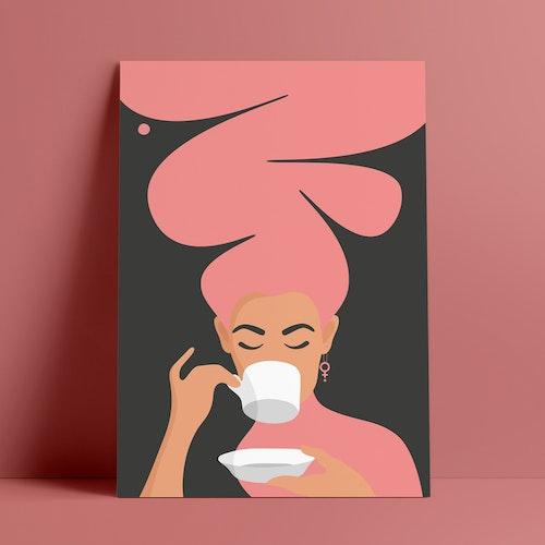 Kaffekvinnan | rosa | A4 + A3