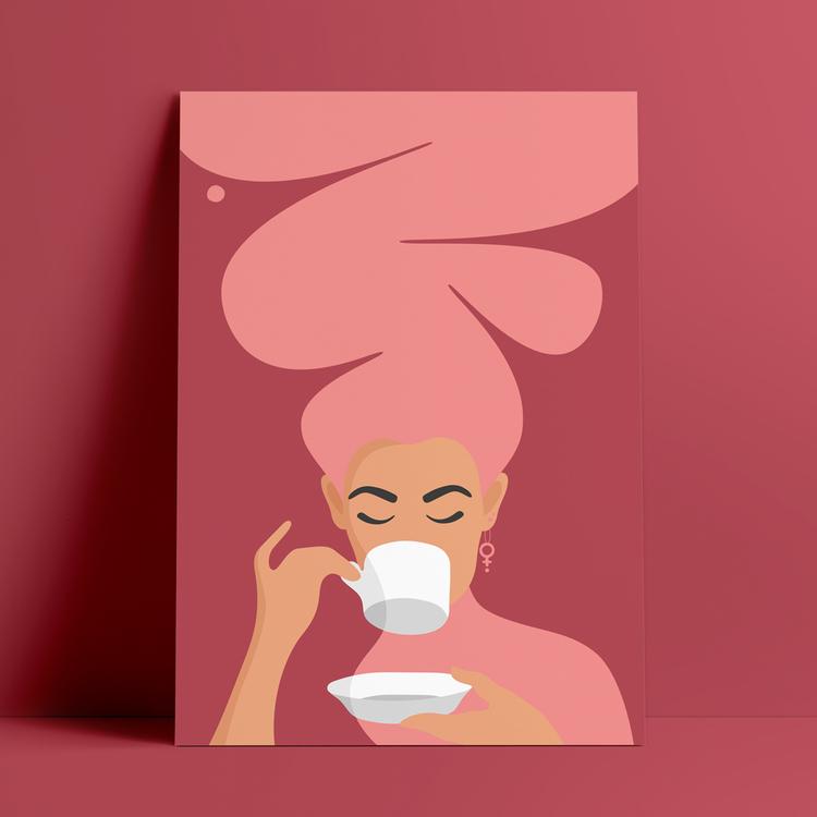 Poster med motiv av en kvinna, med stort rosa hår och feministörhängen, mot röd bakgrund, som dricker kaffe – den så kallade Kaffekvinnan.