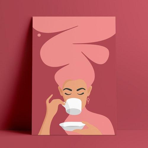 Kaffekvinna | rödrosa | A4 + A3