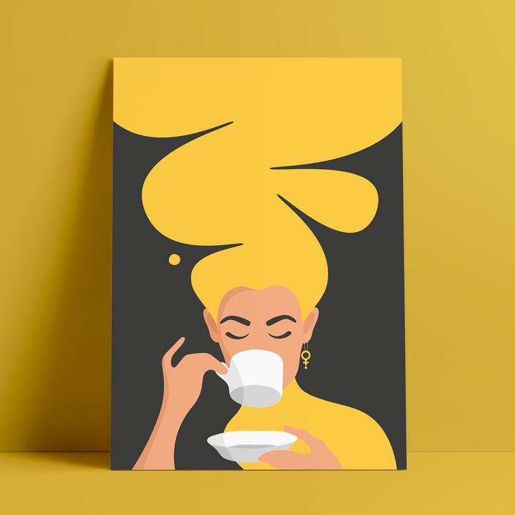 Poster med motiv av en kvinna, med stort gult hår och feministörhängen, som dricker kaffe – den så kallade Kaffekvinnan.
