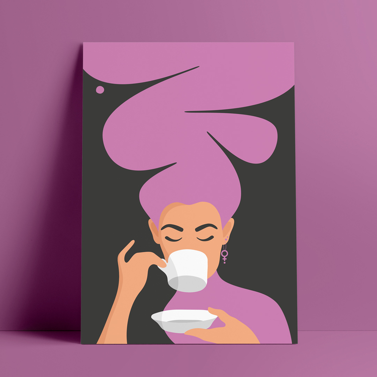 Poster med motiv av en kvinna, med stort lila hår och feministörhängen, som dricker kaffe – den så kallade Kaffekvinnan.