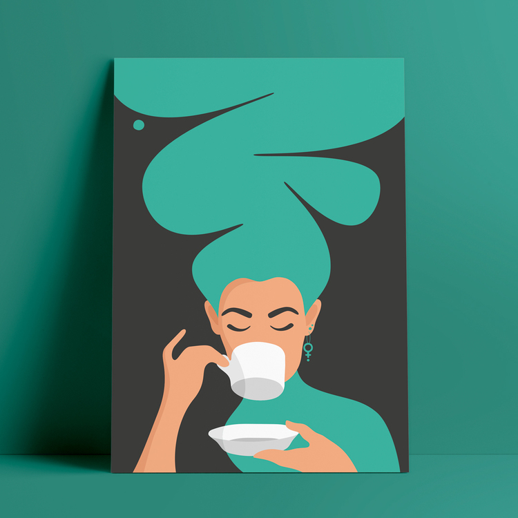 Poster med motiv av en kvinna, med stort turkost hår och feministörhängen, som dricker kaffe – den så kallade Kaffekvinnan.