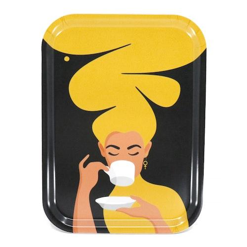 Kaffekvinnan | gul | 20x27 cm