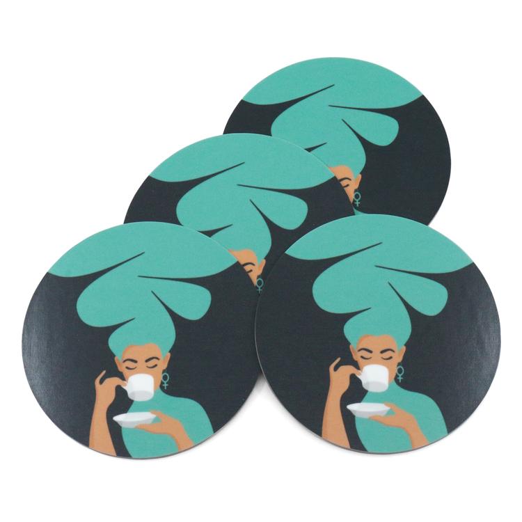 Fyra coasters / glasunderlägg med motivet Kaffekvinna i turkos.