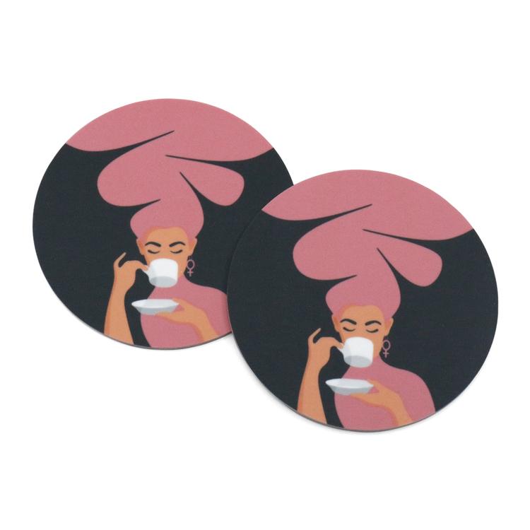 Två coasters / glasunderlägg med motivet Kaffekvinna i rosa.