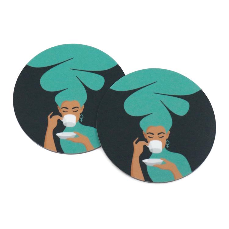 Två coasters / glasunderlägg med motivet Kaffekvinna i turkos.