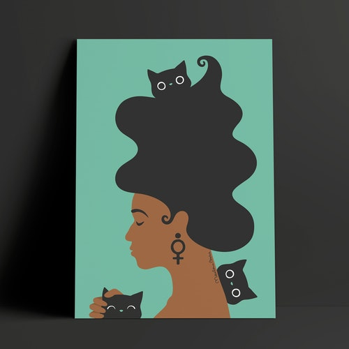 Kattkvinnan | turkos | A4 + A3