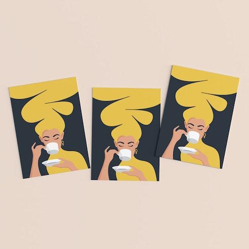 Kaffekvinnan | gul | 3-pack | vykort