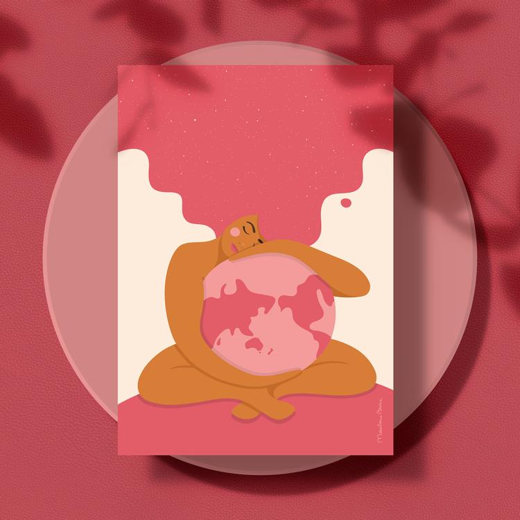 Poster med motivet Moder Jord – en kvinna som omfamnar vår planet Jorden. Kvinnan har stort böljande hår som blir som en stjärnhimmel. Färg: rosa.